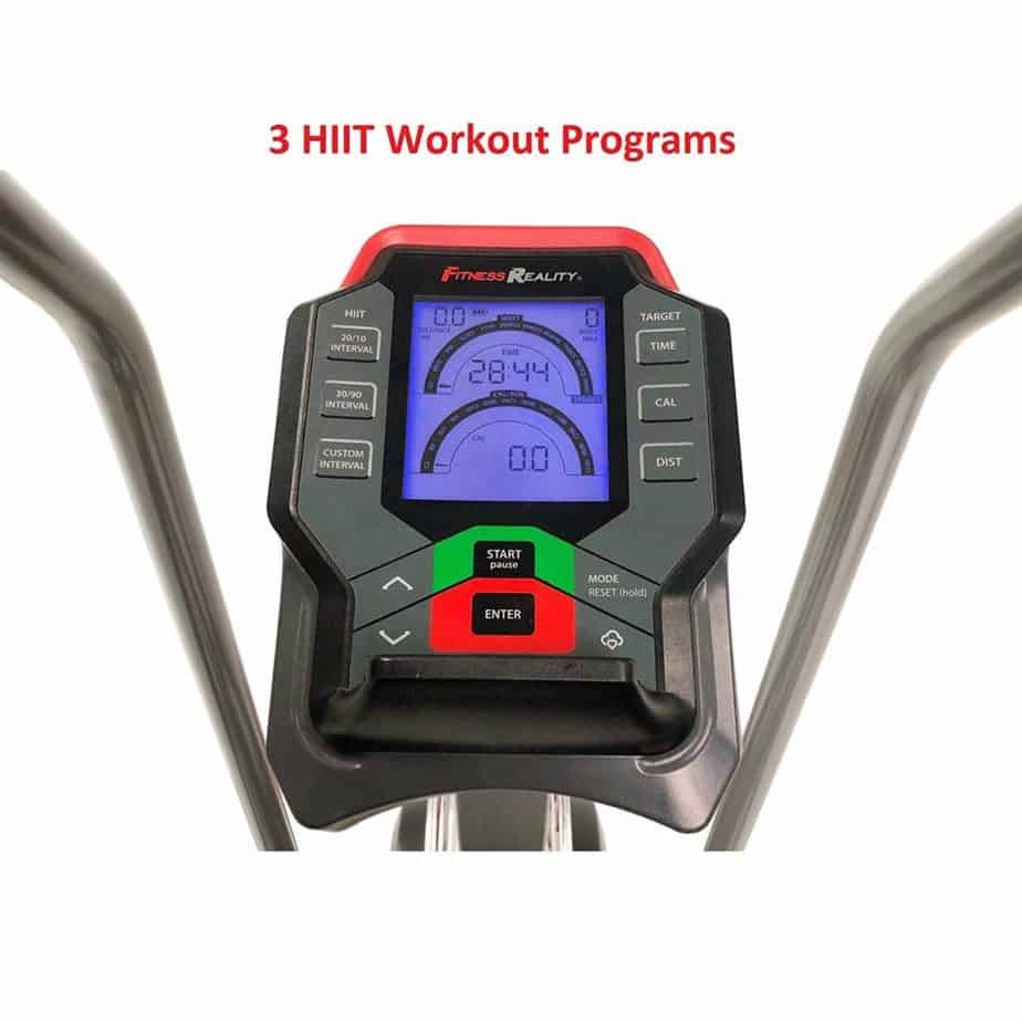 The console of the Fitness Reality 1000AR Bluetooth Air Resistance Bike
