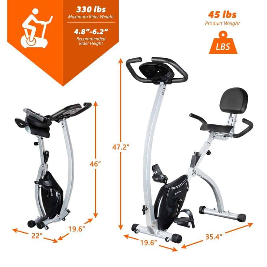 The folded and unfolded BCAN Folding Exercise Bike