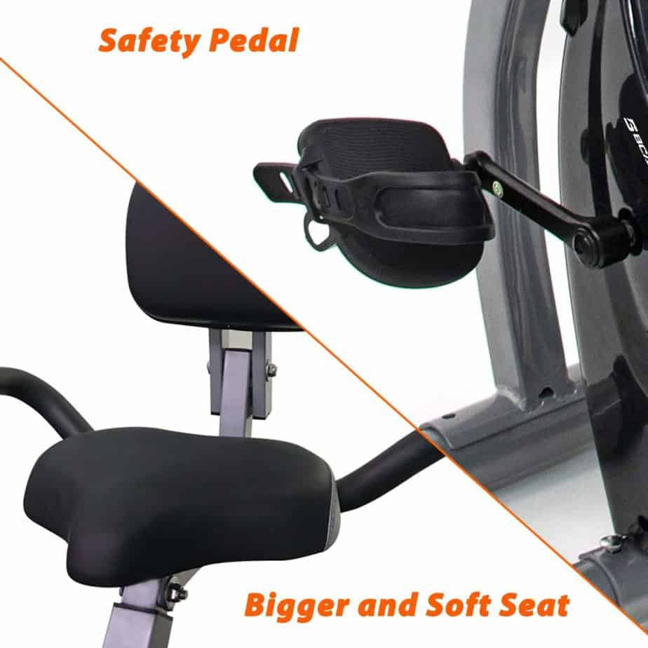 The seat and the pedals of the BCAN Folding Exercise Bike