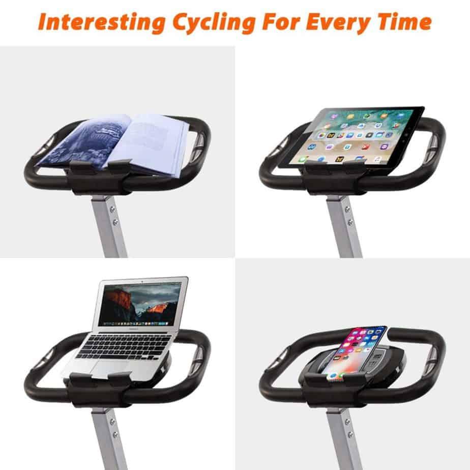 Tablet holder on the BCAN Folding Exercise Bike