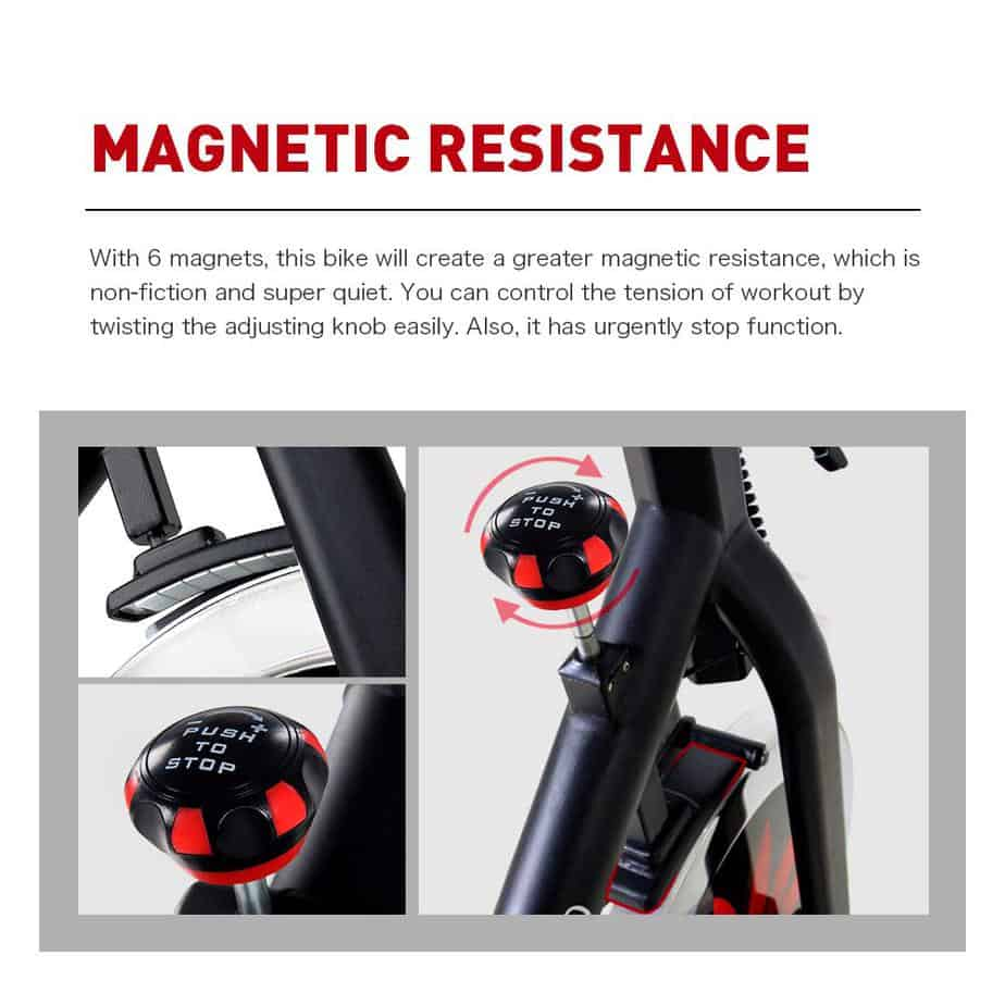 Magnetic resistance of the Joroto X2 Indoor Cycling Bike