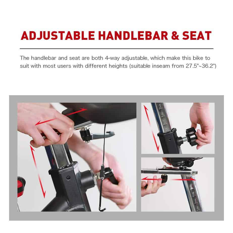 The seat and handlebar adjustment of the Joroto X2 Indoor Cycling Bike