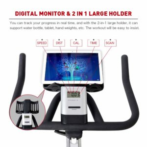 The console and the handlebar of the Joroto X2 Indoor Cycling Bike