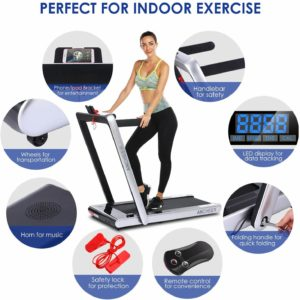 The features of the ANCHEER 2-in-1 Folding Treadmill