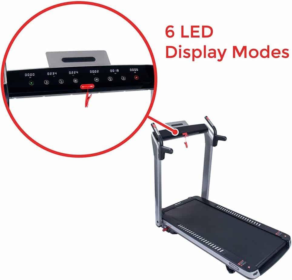 The console of the Sunny Health & Fitness ASUNA 7750 Folding Treadmill