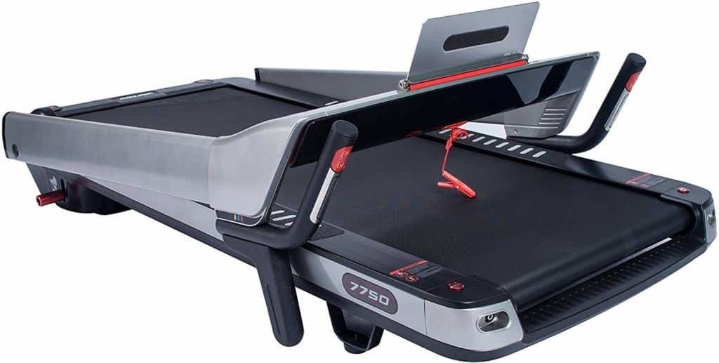 The folded form of the Sunny Health & Fitness ASUNA 7750 Folding Treadmill