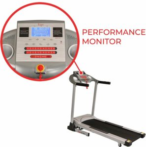 The console of the Sunny Health & Fitness Electric Folding Treadmill SF-T7873