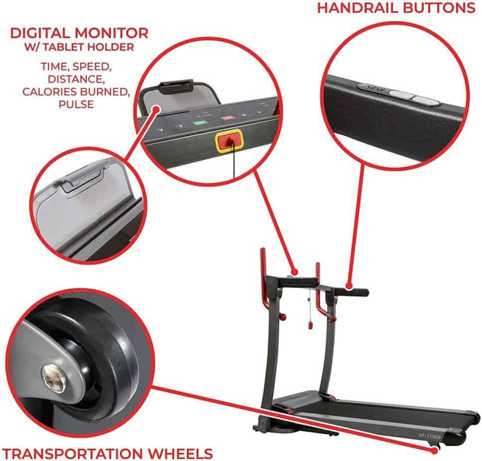 The console, transport wheel, and the handlebar of the Sunny Health & Fitness Folding Electric Treadmill SF-T7909