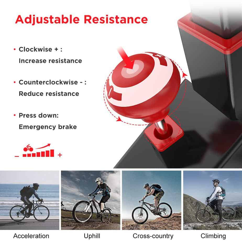 The resistance control knob of the Dripex Indoor Exercise Bike