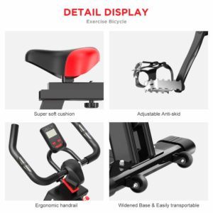 The seat, the handlebar, the pedals, the base, and the console of the Dripex Indoor Exercise Bike
