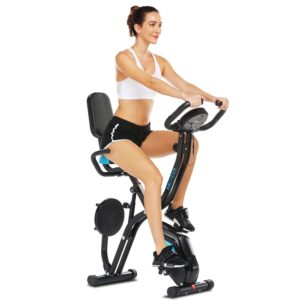 A lady exercising with the Zafuar 3-in-1 Slim Folding Cycling Exercise Bike