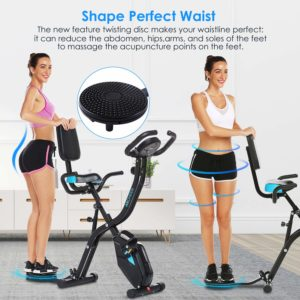 A lady is using the twister plate on the Zafuar 3-in-1 Slim Folding Cycling Exercise Bike