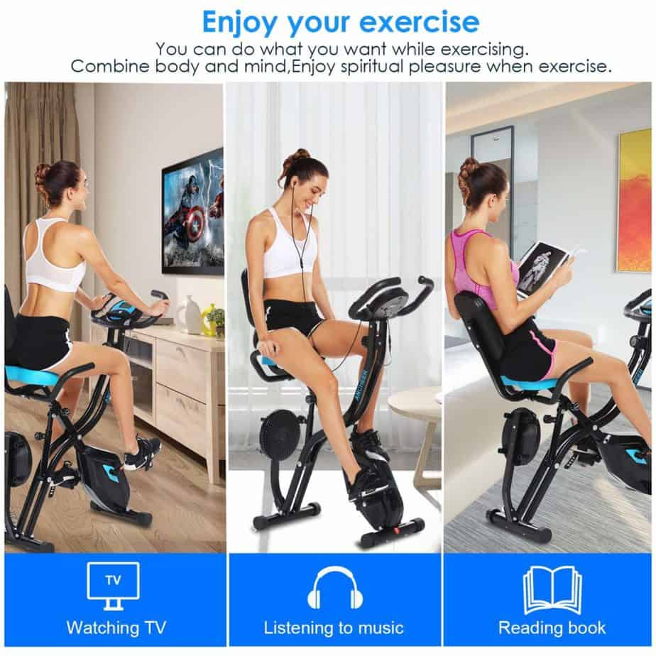 An athlete is watching TV, listening to music, and reading while working out on the Zafuar 3-in-1 Slim Folding Cycling Exercise Bike