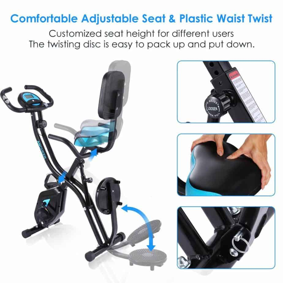The seat of the Zafuar 3-in-1 Slim Folding Cycling Exercise Bike
