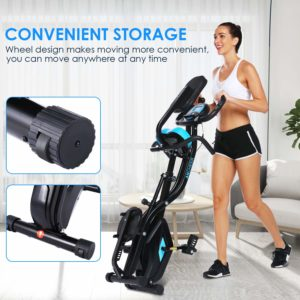 A lady is moving the Zafuar 3-in-1 Slim Folding Cycling Exercise Bike to storage