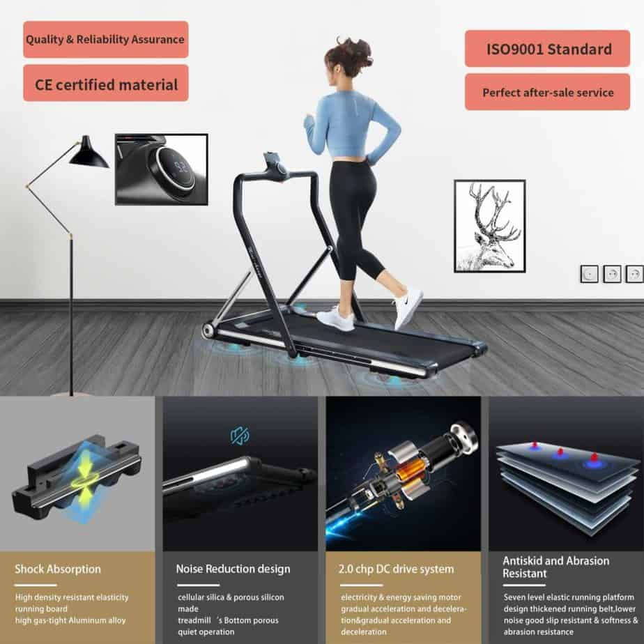 The motor and the tread belt cushioning system of the RHYTHM FUN Folding Under-Desk Treadmill