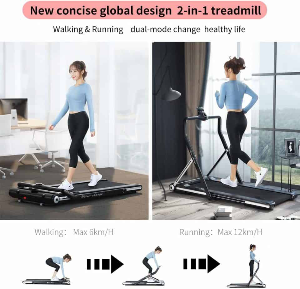 A lady walks and runs on the RHYTHM FUN Folding Under-Desk Treadmill