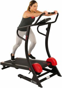 A lady is exercising on the Sunny Health & Fitness SF-T7878 Treadmill