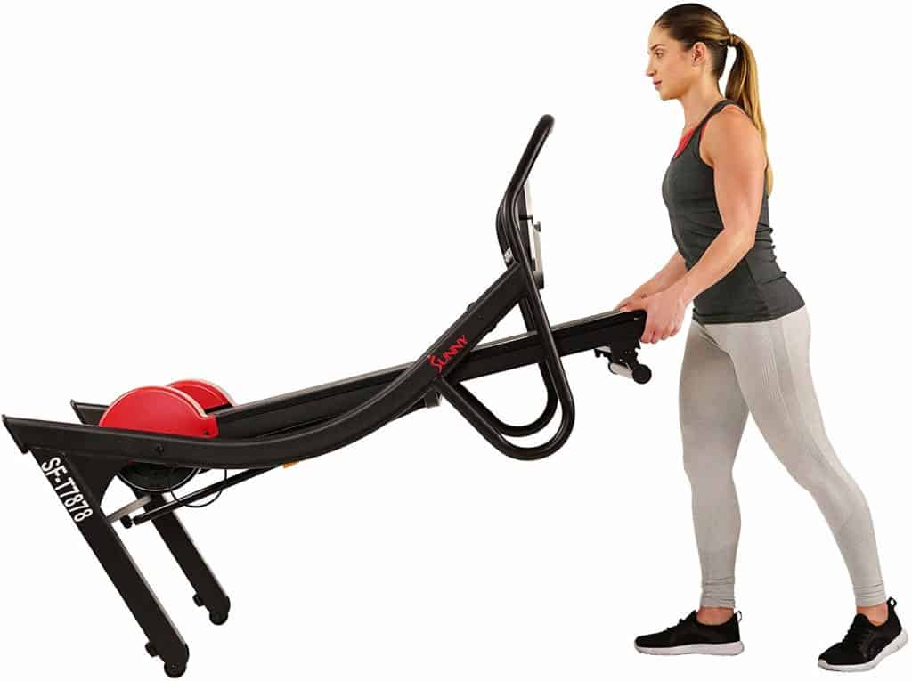 The Sunny Health & Fitness SF-T7878 Treadmill is being moved to storage