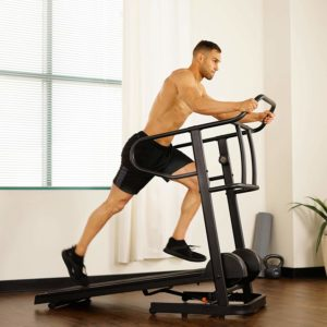 A man is running on the Sunny Health & Fitness SF-T7723 Treadmill