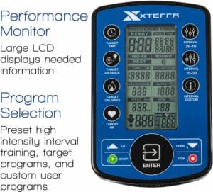 The console of the XTERRA Fitness AIR650 Airbike Pro