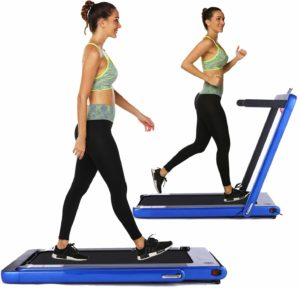 A lady walking and jogging on the OppsDecor 2-in-1 Under-Desk Treadmill