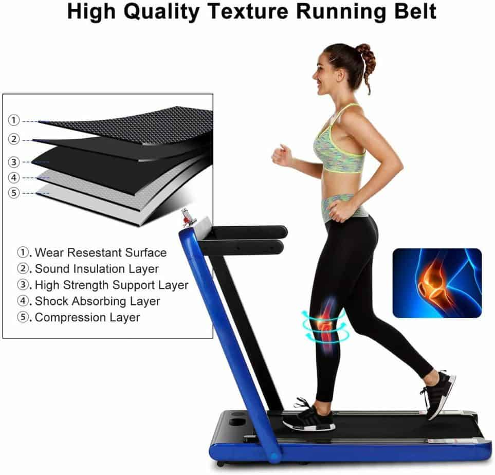 The tread belt of the OppsDecor 2-in-1 Under-Desk Treadmill has several layers