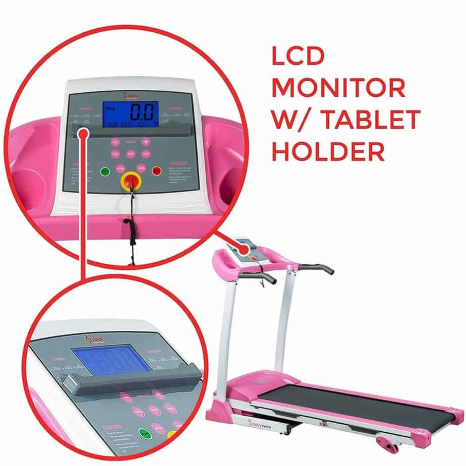 The console of the Sunny Health & Fitness P8700 Treadmill