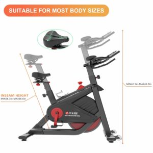 The seat and the handlebar of the SNODE FIR Magnetic Indoor Cycling Bike 8722 are adjustable
