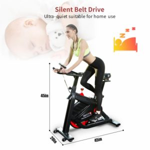 The belt drive system of the SNODE FIR Magnetic Indoor Cycling Bike 8722 provides smooth and quiet operation