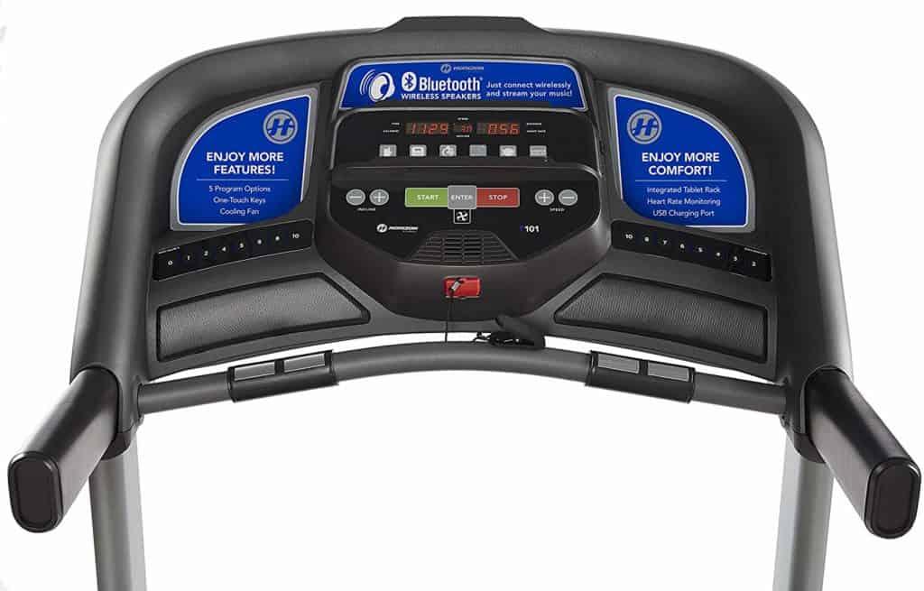The console of the Horizon T101 Treadmill (2018)
