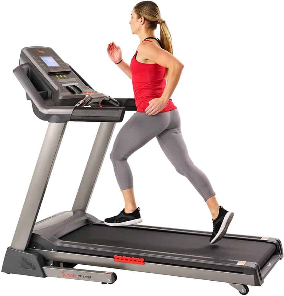 A lady is running on the Sunny Health & Fitness SF-T7820 Treadmill