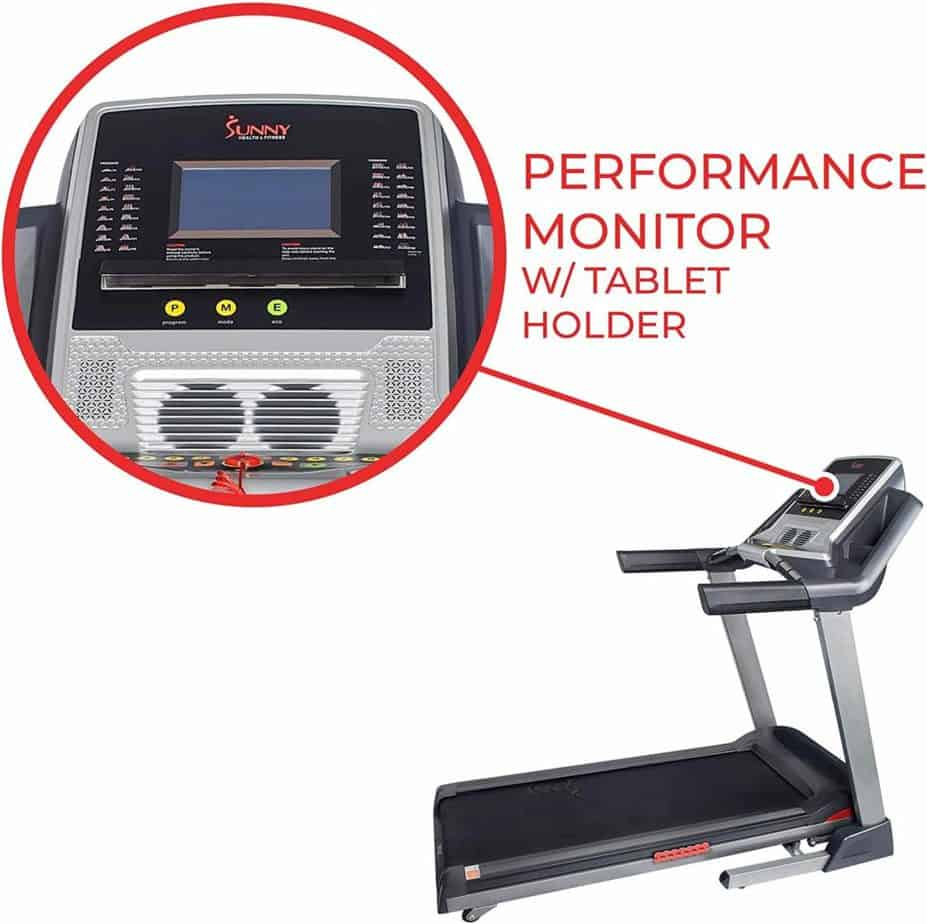 The console of the Sunny Health & Fitness SF-T7820 Treadmill