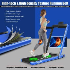 A lady is jogging on the Goplus 2 in 1 Folding Treadmill