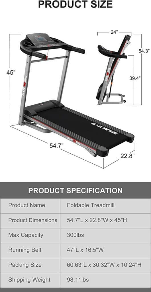 BARWING Electric Folding Treadmill