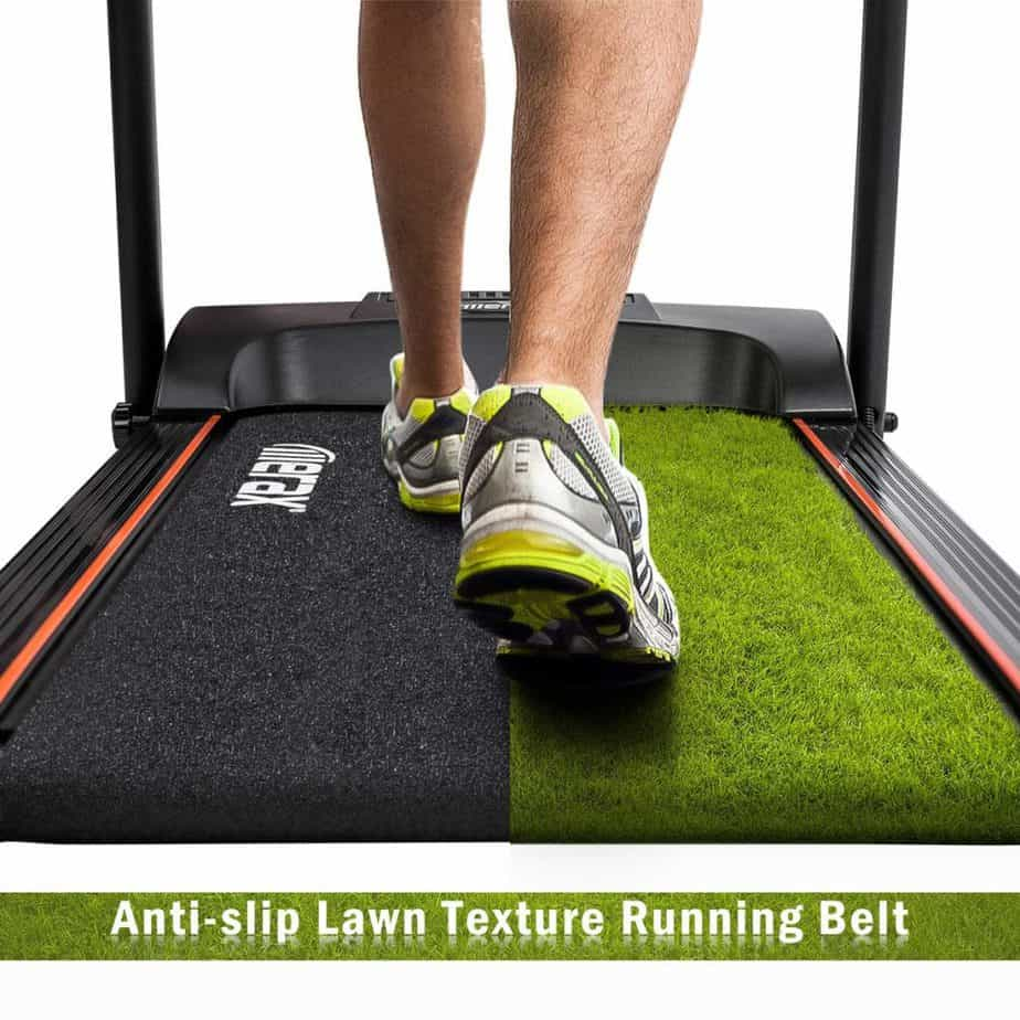 The running surface of the Merax Folding Treadmill
