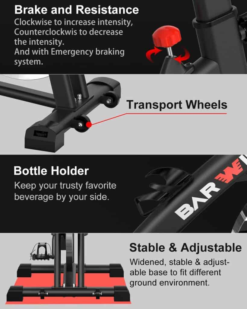 The transport wheels, tension resistance knob, water bottle holder and the adjustable stabilizers of the BARWING Indoor Exercise Bike