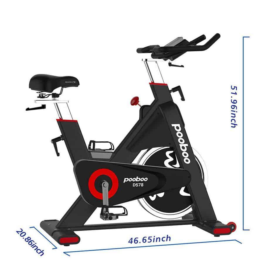The Pooboo D578 Indoor Cycling Bike with its dimensions