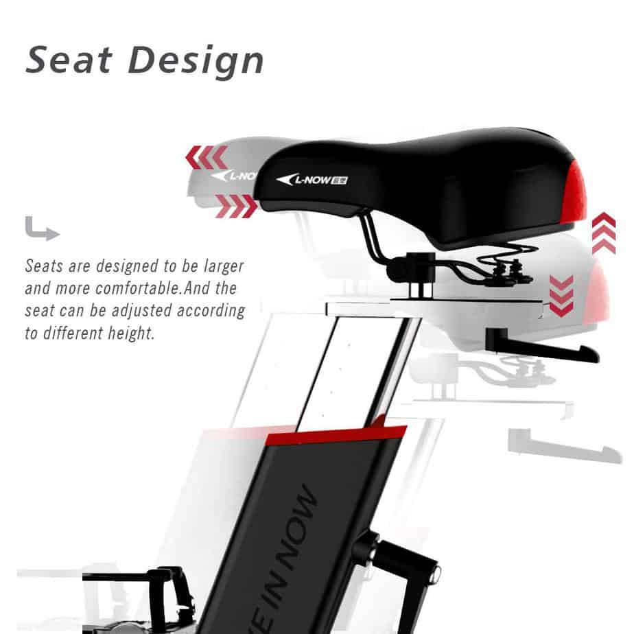 The adjustable seat of the Pooboo D578 Indoor Cycling Bike