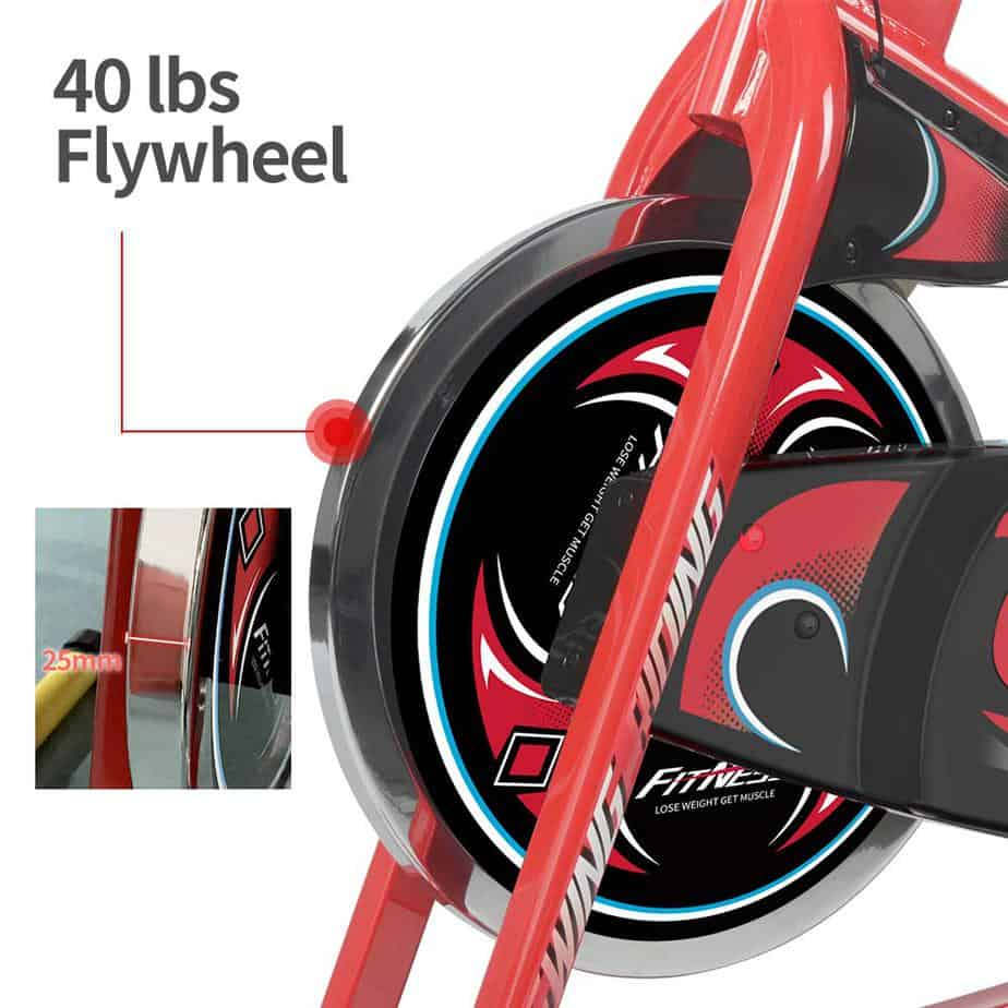 The 40 lbs./18 kg flywheel and drive of the Pooboo D686 Indoor Cycling Bike