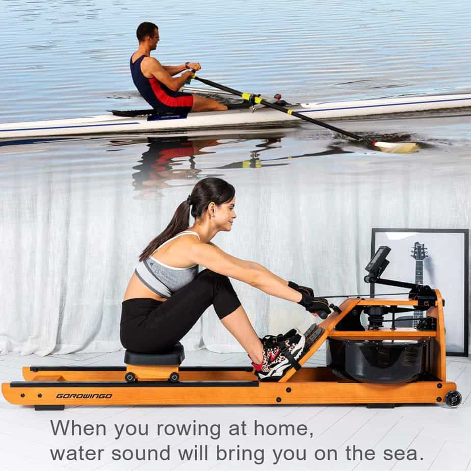 A lady is working out with the Gorowingo Wooden Water Rower