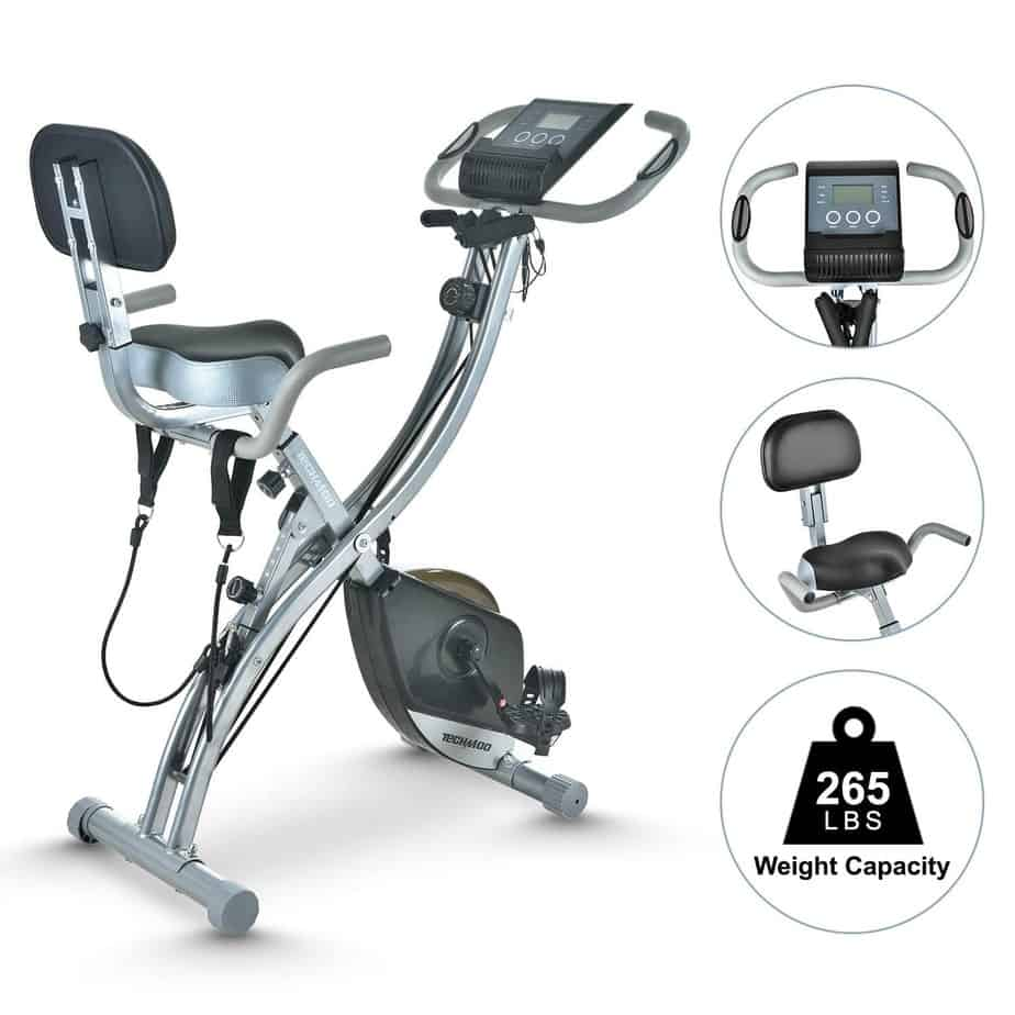 The TECHMOO Folding Stationary Bike with the seat and the console on display