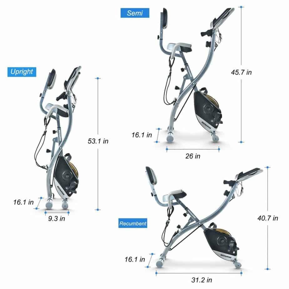 The 3 different modes of the TECHMOO Folding Stationary Bike
