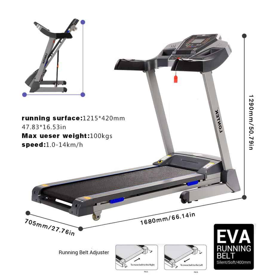 The folded and unfolded versions of the UMAY Bluetooth Motorized Treadmill