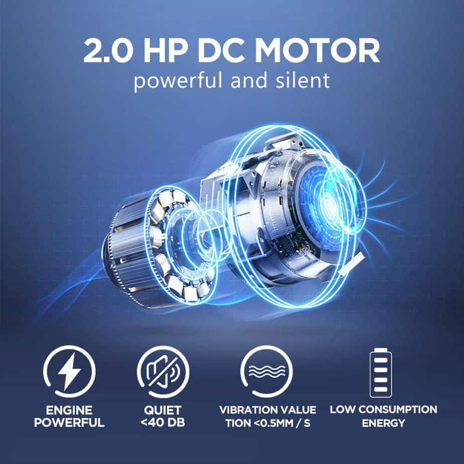 The 1.75 horsepower motor of the UMAY Bluetooth Motorized Treadmill