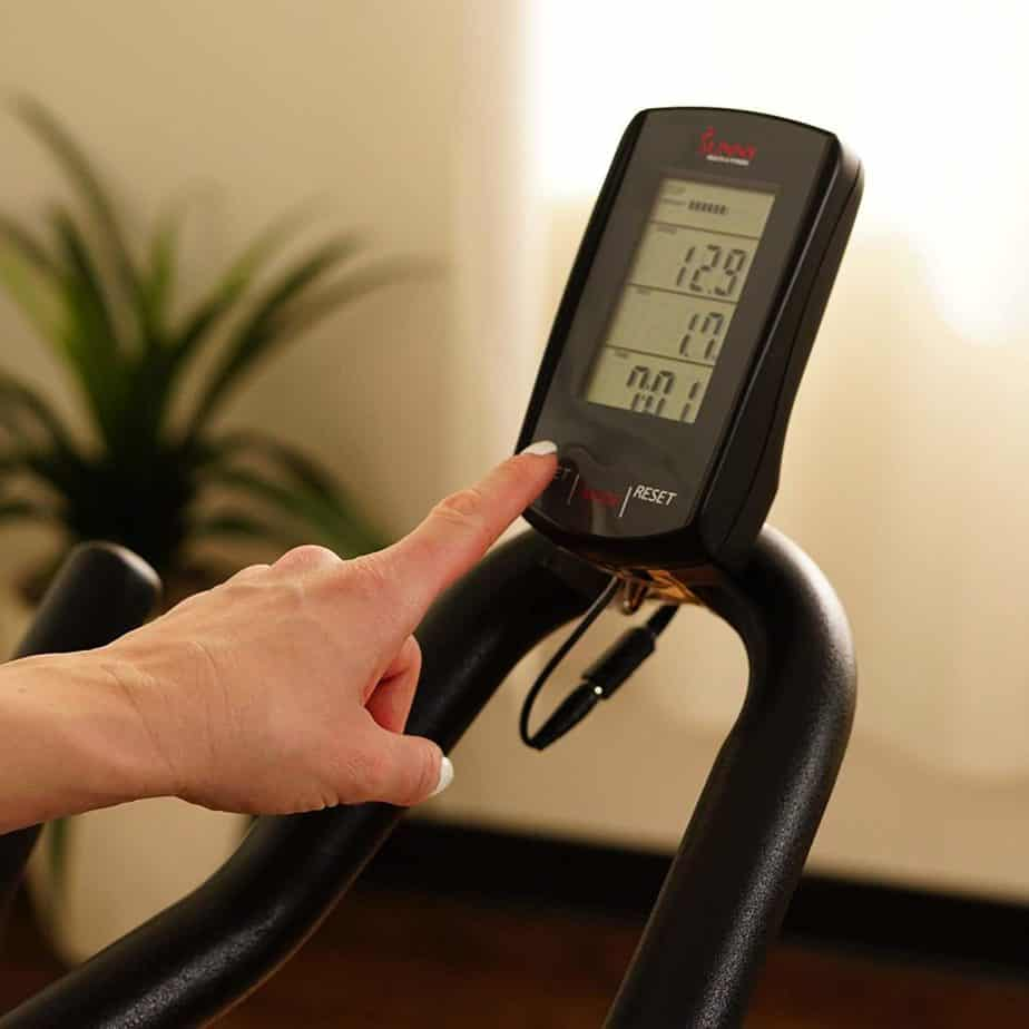 The Console/display of the Sunny Health & Fitness SF-B1709 Indoor Cycling Bike