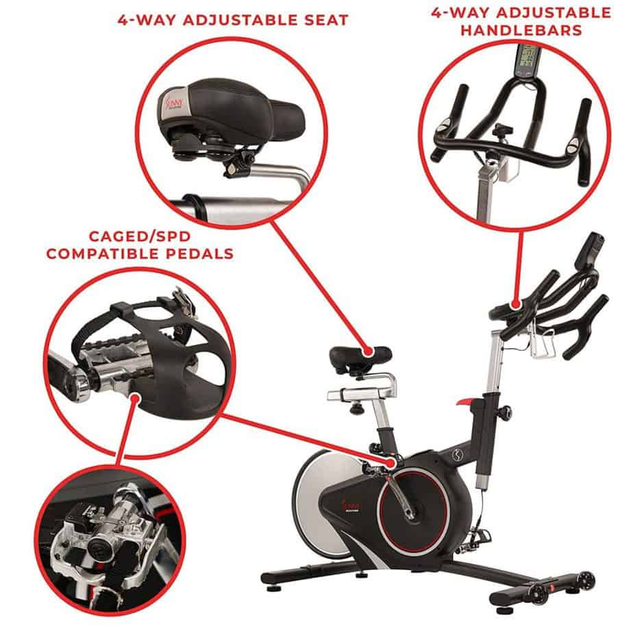 The pedal, the seat, and the handlebar, of the Sunny Health & Fitness SF-B1709 Indoor Cycling Bike
