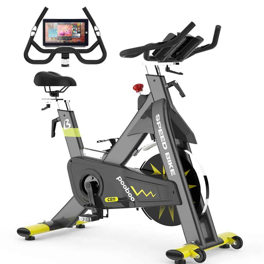 The Pooboo C511 Commercial Cycling Bike and the demonstration of how the tablet holder holds a device