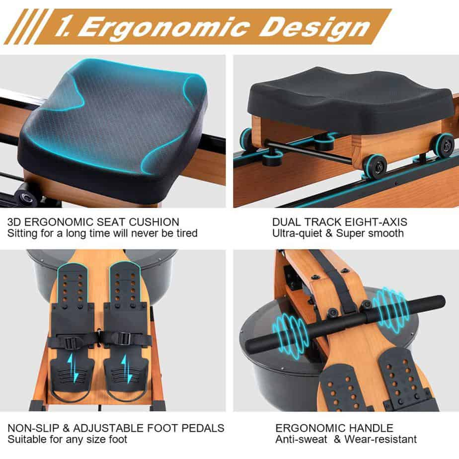 The seat, handle, and the pedals of the Gorowingo Wooden Water Rower