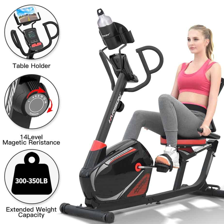 The console, resistance knob, of the Harison Magnetic Recumbent Exercise Bike and a lady working out with it